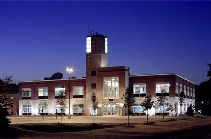 Mel Johnson KTIS Broadcasting Center building at night