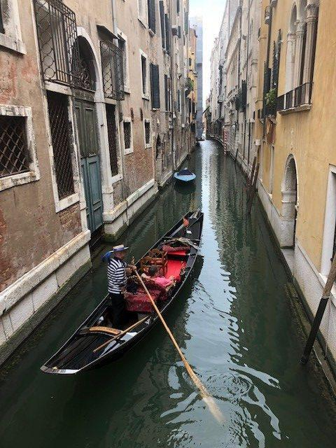 A Venice boat in a canal